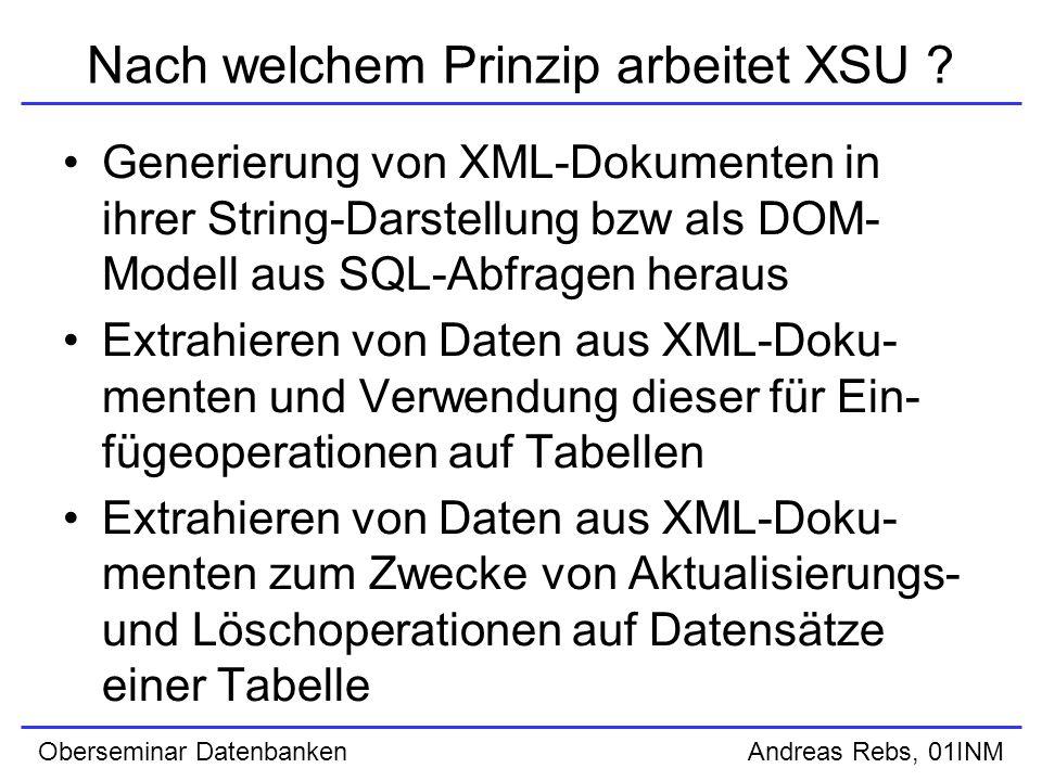 Oberseminar Datenbanken Andreas Rebs, 01INM XSU Command Line Front End (INSERT) Verwendung des Parameters putXML für die Java-Klasse OracleXML, gefolgt von weiteren optionalen Parametern und den Namen vom XML-Dokument und der Ziel- tabelle Beispiel: java OracleXML putXML –user scott/tiger –fileName data.xml emp Optionen: –user / –rowTag
