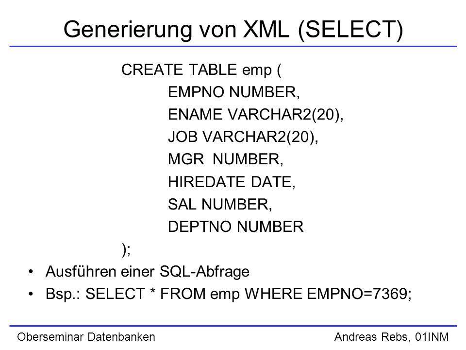 Oberseminar Datenbanken Andreas Rebs, 01INM XSU PL/SQL API (DELETE) setKeyColumn() optional create or replace procedure testDelete(xmlDoc IN CLOB, tableName IN VARCHAR2) is delCtx DBMS_XMLSave.ctxType; rows number; begin delCtx := DBMS_XMLSave.newContext(tableName); DBMS_XMLSave.setKeyColumn(delCtx, DEPTNO ); rows := DBMS_XMLSave.deleteXML(delCtx, xmlDoc); DBMS_XMLSave.closeContext(delCtx); end; /