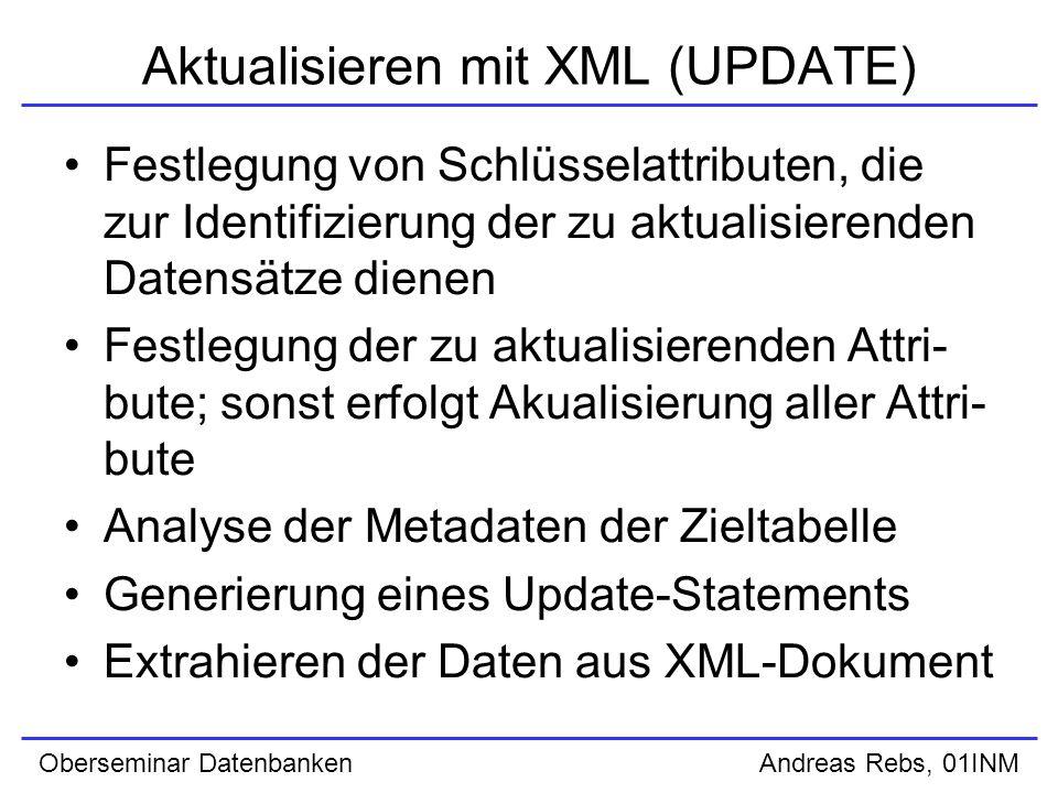 Oberseminar Datenbanken Andreas Rebs, 01INM XSU PL/SQL API (SELECT) Erzeugung eines Context Handles mittels der Funktion newContext() ; SQL-Abfrage wird als Parameter übergeben Beispiel: queryCtx := DBMS_XMLQuery.newContext( SELECT * FROM emp ); eigentliche Generierung von XML mittels der Funktion getXML() ; Rückgabewert ist das XML-Dokument als CLOB Beispiel: result := DBMS_XMLQuery.getXML(queryCtx);