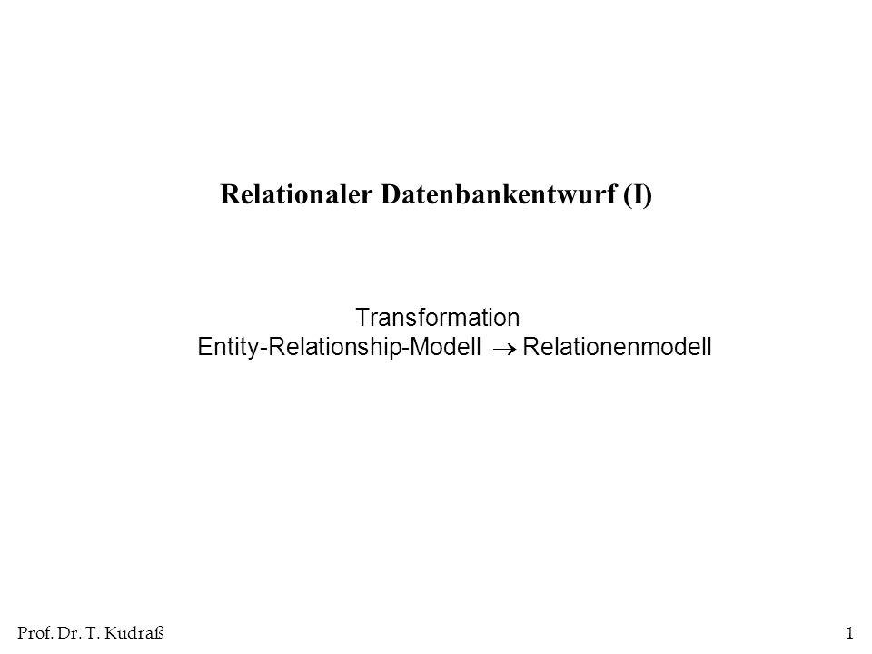 Prof. Dr. T. Kudraß1 Relationaler Datenbankentwurf (I) Transformation Entity-Relationship-Modell Relationenmodell