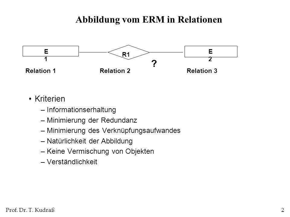 Prof. Dr. T. Kudraß2 Abbildung vom ERM in Relationen Kriterien –Informationserhaltung –Minimierung der Redundanz –Minimierung des Verknüpfungsaufwande