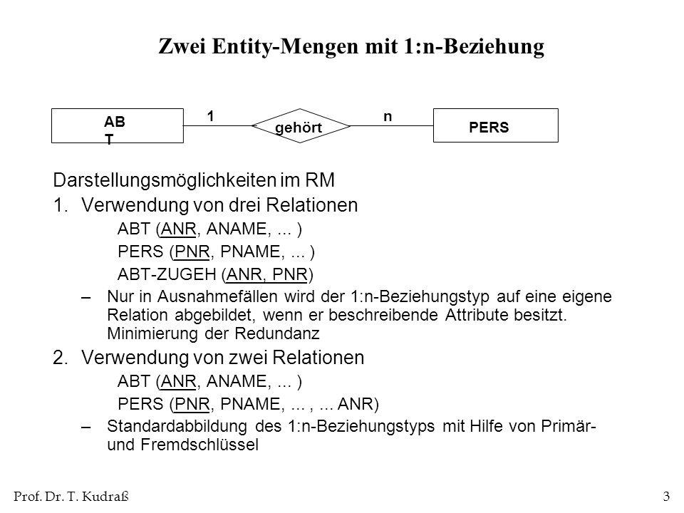 Prof. Dr. T. Kudraß3 Zwei Entity-Mengen mit 1:n-Beziehung Darstellungsmöglichkeiten im RM 1.Verwendung von drei Relationen ABT (ANR, ANAME,... ) PERS