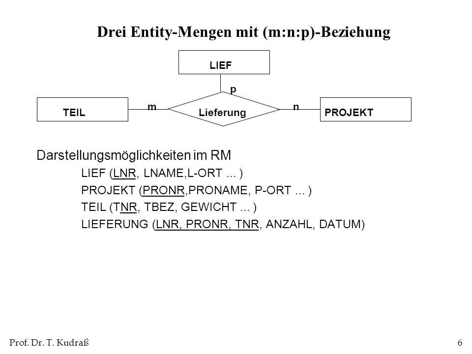 Prof. Dr. T. Kudraß6 Drei Entity-Mengen mit (m:n:p)-Beziehung Darstellungsmöglichkeiten im RM LIEF (LNR, LNAME,L-ORT... ) PROJEKT (PRONR,PRONAME, P-OR