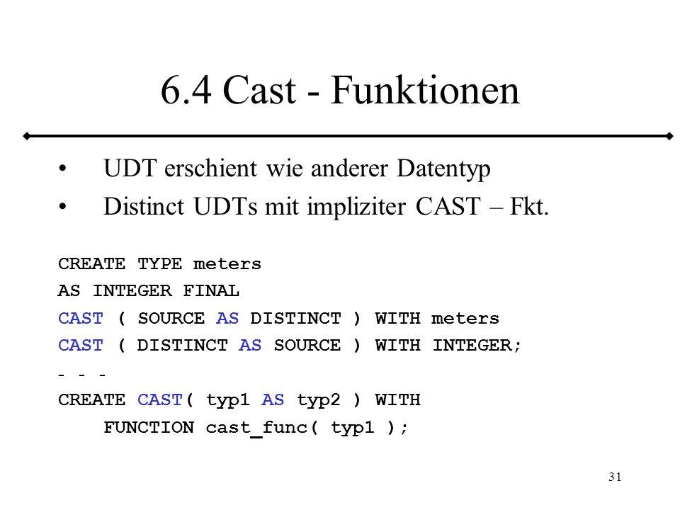 32 6.5 Erzeugerfunktion CREATE TYPE emp_t AS OBJECT( enameCHAR(31),deptCHAR(20), STATIC FUNCTION new_emp (name VARCHAR2, dept VARCHAR2) RETURN emp_t); CREATE BODY emp_t IS STATIC FUNCTION new_emp (name VARCHAR2, dept VARCHAR2) RETURN emp_t IS BEGIN RETURN emp_t(name, dept); END; END; INSERT INTRO emps VALUES (emp_t.new_emp( Jörgen , Service ));