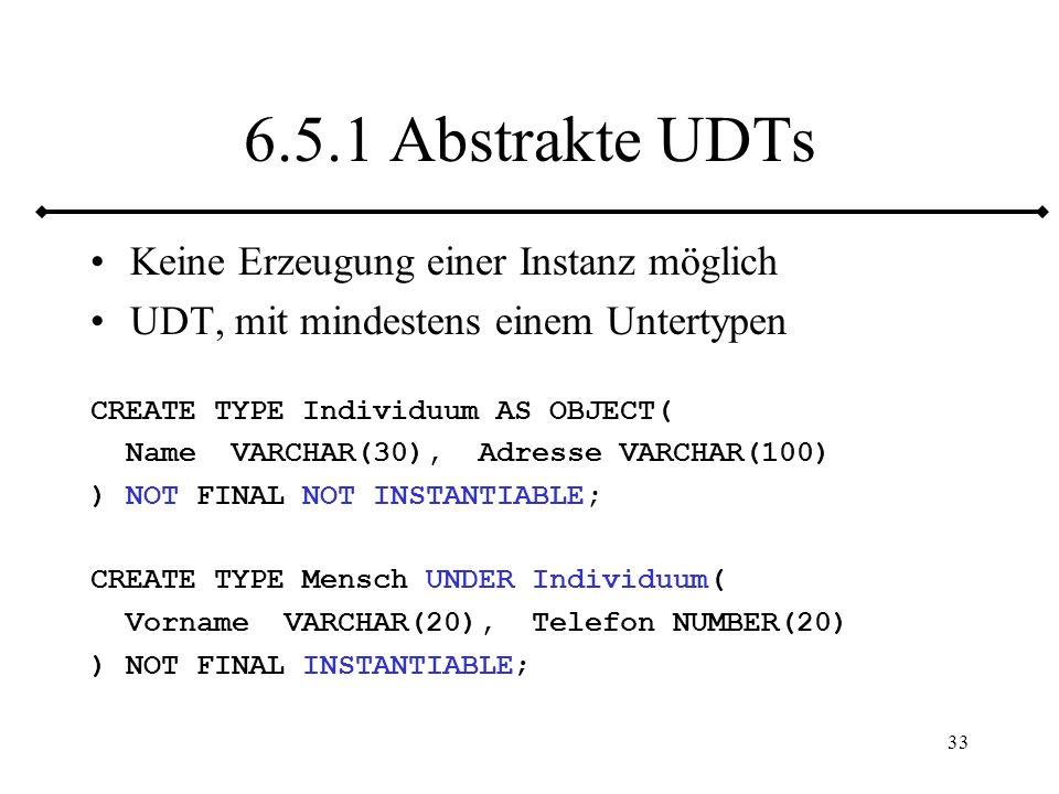 34 7 Referenzen Object ID (OID) für jede Instanz = Zeiger Referenzen (REFs) sind diese Zeiger SELECT REF(e) FROM emps e WHERE ename= Jörgen ; REF(E) 0000280209342BDA0E8BFA417F9ADF6812510BB1176C32804 72D7748EA84B2BD78AA84C447020001420000 SELECT VALUE(e) FROM emps e WHERE ename= Jörgen ; VALUE(E)(ENAME, DEPT) EMP_T( Jörgen , Service )