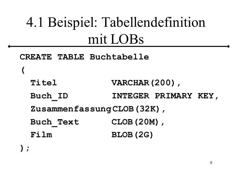 10 4.2 Benutzung von LOBs Einfügen, Entfernen, Aktualisieren Kein Vergleich ( ) Kein Index oder Schlüssel BLOB –LIKE (Gleichheit) CLOB –TRIM, SUBSTRING, POSITION, LENGTH