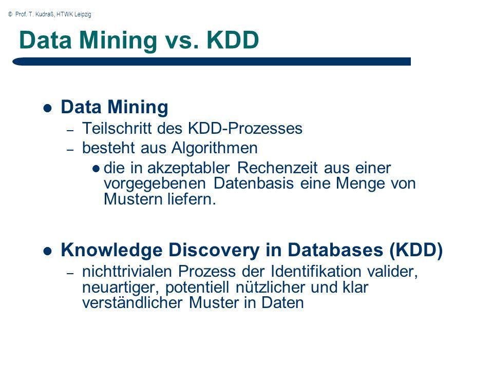 © Prof. T. Kudraß, HTWK Leipzig 8 Der Prozess des KDD (Knowledge Discovery in Databases)