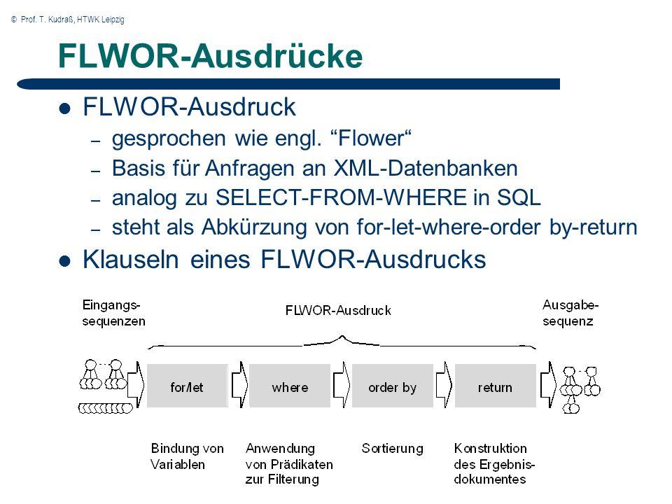 © Prof. T. Kudraß, HTWK Leipzig FLWOR-Ausdrücke FLWOR-Ausdruck – gesprochen wie engl.