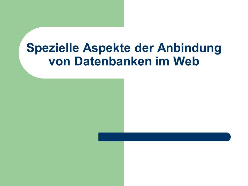 Spezielle Aspekte der Anbindung von Datenbanken im Web