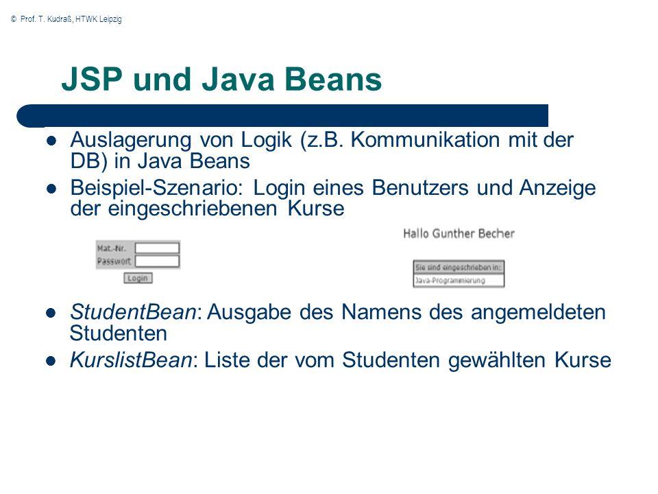 © Prof. T. Kudraß, HTWK Leipzig JSP und Java Beans Auslagerung von Logik (z.B.