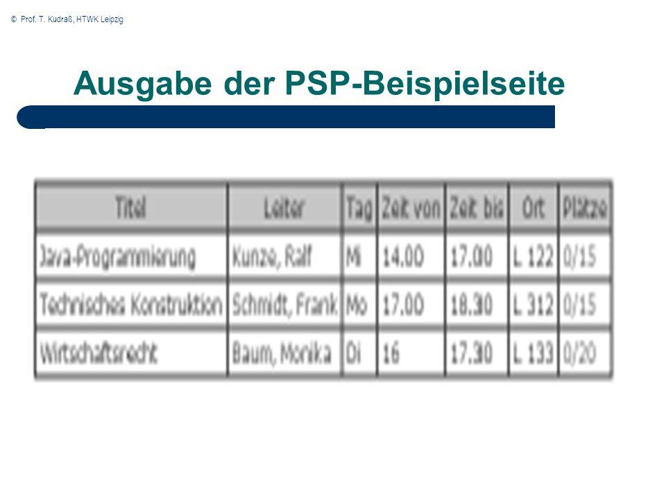© Prof. T. Kudraß, HTWK Leipzig Ausgabe der PSP-Beispielseite