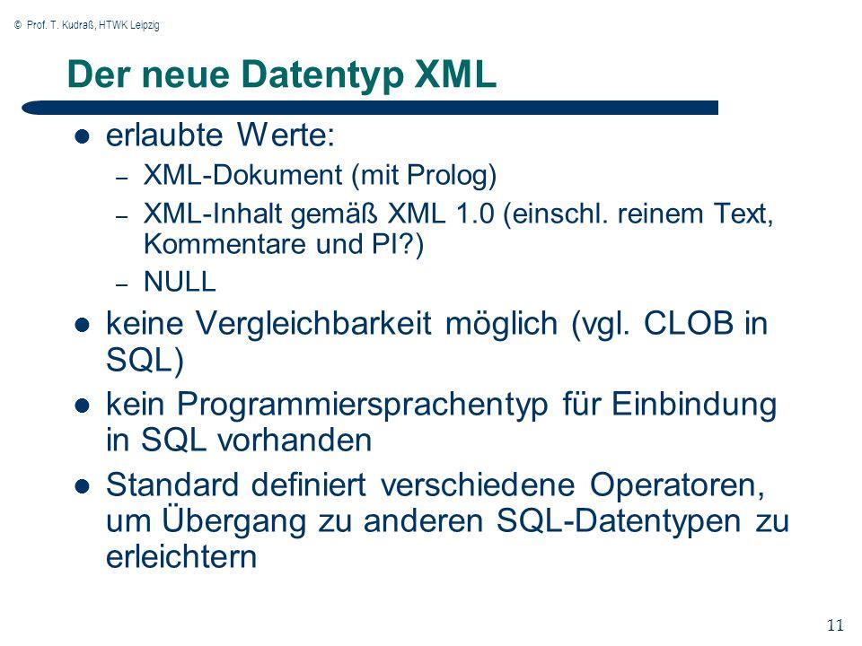 © Prof. T. Kudraß, HTWK Leipzig 11 Der neue Datentyp XML erlaubte Werte: – XML-Dokument (mit Prolog) – XML-Inhalt gemäß XML 1.0 (einschl. reinem Text,