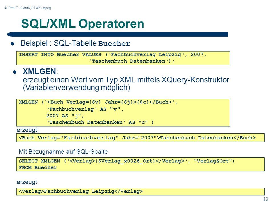 © Prof. T. Kudraß, HTWK Leipzig 12 SQL/XML Operatoren Beispiel : SQL-Tabelle Buecher INSERT INTO Buecher VALUES (Fachbuchverlag Leipzig, 2007, Taschen