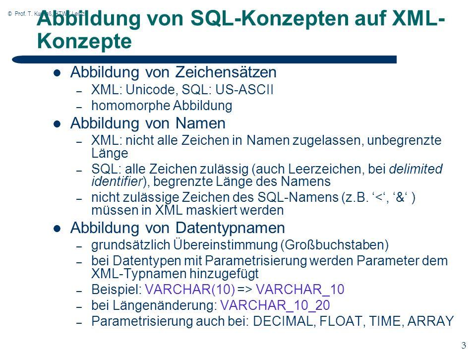 © Prof. T. Kudraß, HTWK Leipzig 3 3 Abbildung von SQL-Konzepten auf XML- Konzepte Abbildung von Zeichensätzen – XML: Unicode, SQL: US-ASCII – homomorp