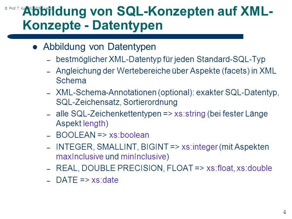 © Prof. T. Kudraß, HTWK Leipzig 4 4 Abbildung von SQL-Konzepten auf XML- Konzepte - Datentypen Abbildung von Datentypen – bestmöglicher XML-Datentyp f