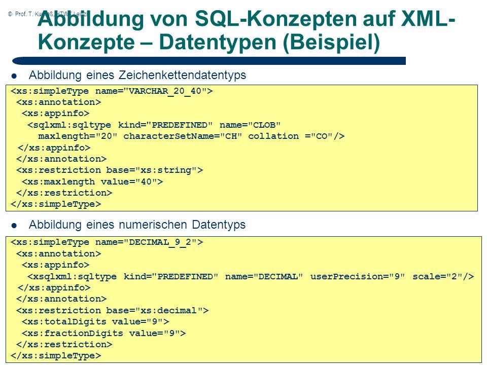 © Prof. T. Kudraß, HTWK Leipzig 5 5 Abbildung von SQL-Konzepten auf XML- Konzepte – Datentypen (Beispiel) Abbildung eines Zeichenkettendatentyps Abbil