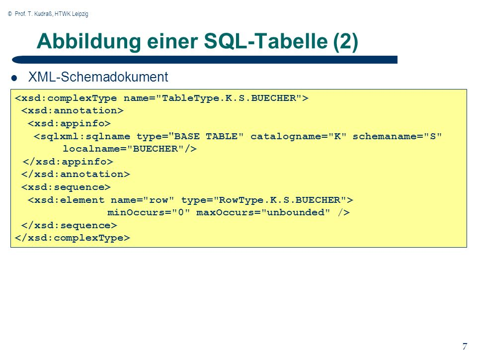 © Prof. T. Kudraß, HTWK Leipzig 7 7 Abbildung einer SQL-Tabelle (2) XML-Schemadokument minOccurs=