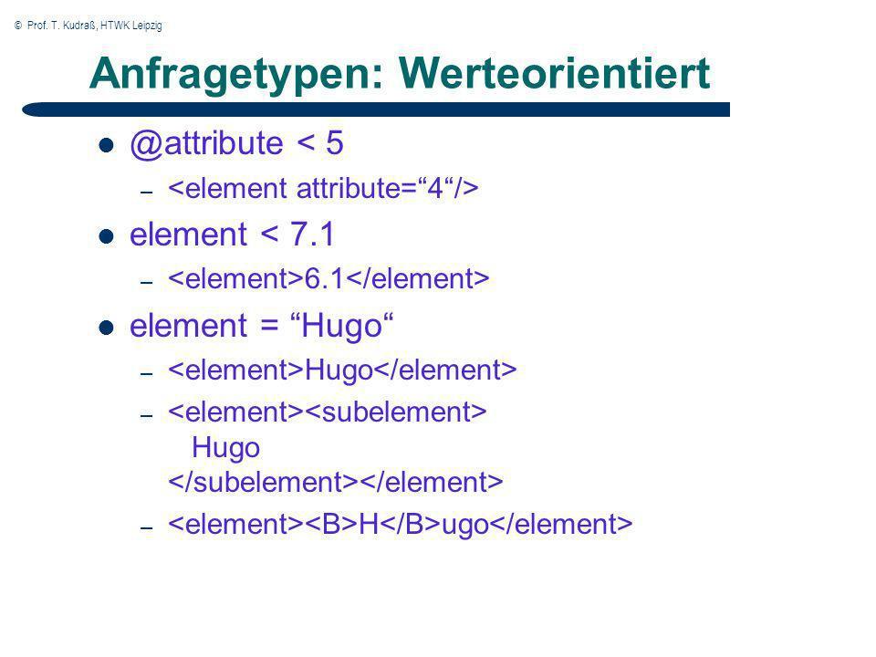 © Prof. T. Kudraß, HTWK Leipzig Anfragetypen: Werteorientiert @attribute < 5 – element < 7.1 – 6.1 element = Hugo – Hugo