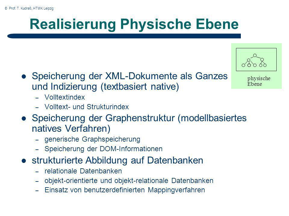 © Prof. T. Kudraß, HTWK Leipzig Realisierung Physische Ebene Speicherung der XML-Dokumente als Ganzes und Indizierung (textbasiert native) – Volltexti