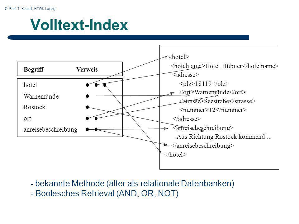© Prof. T. Kudraß, HTWK Leipzig Volltext-Index - bekannte Methode (älter als relationale Datenbanken) - Boolesches Retrieval (AND, OR, NOT) Verweis Wa