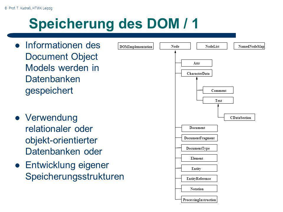 © Prof. T. Kudraß, HTWK Leipzig Speicherung des DOM / 1 Informationen des Document Object Models werden in Datenbanken gespeichert Verwendung relation