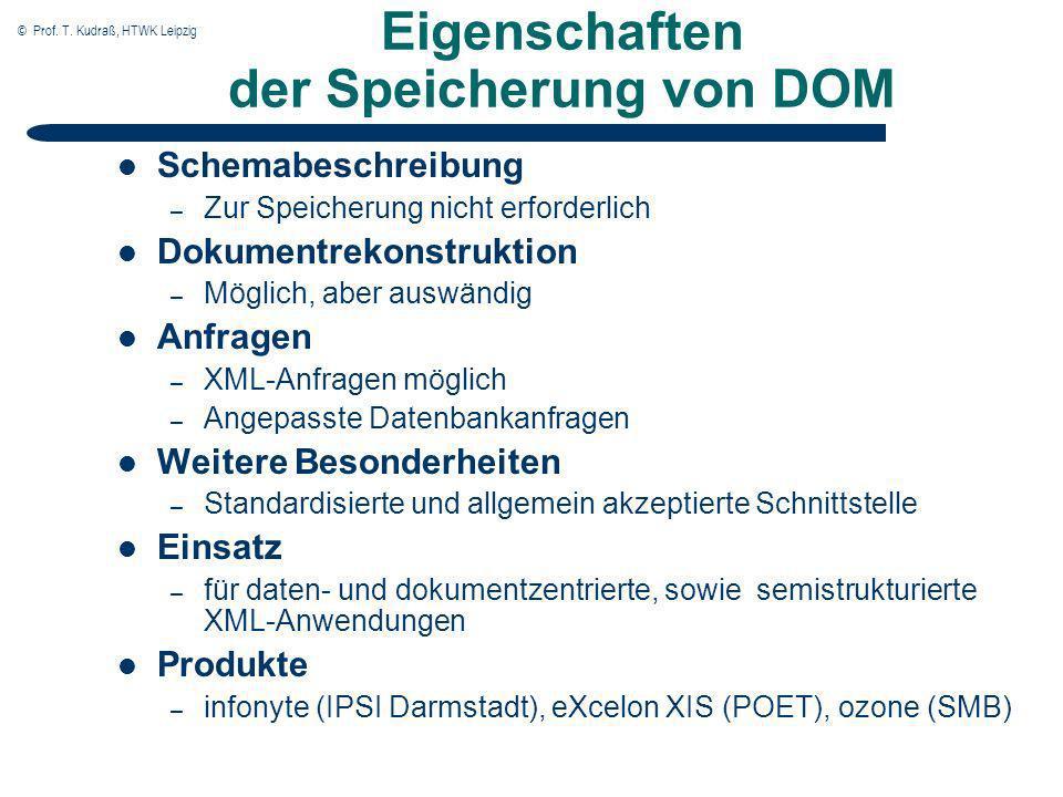 © Prof. T. Kudraß, HTWK Leipzig Eigenschaften der Speicherung von DOM Schemabeschreibung – Zur Speicherung nicht erforderlich Dokumentrekonstruktion –
