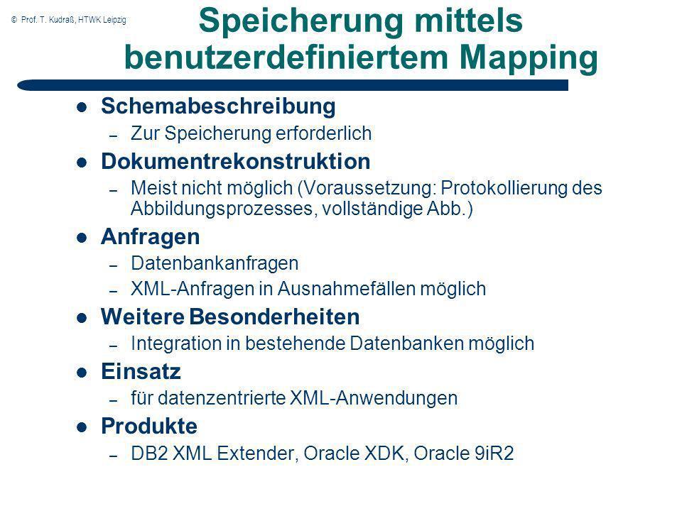 © Prof. T. Kudraß, HTWK Leipzig Speicherung mittels benutzerdefiniertem Mapping Schemabeschreibung – Zur Speicherung erforderlich Dokumentrekonstrukti