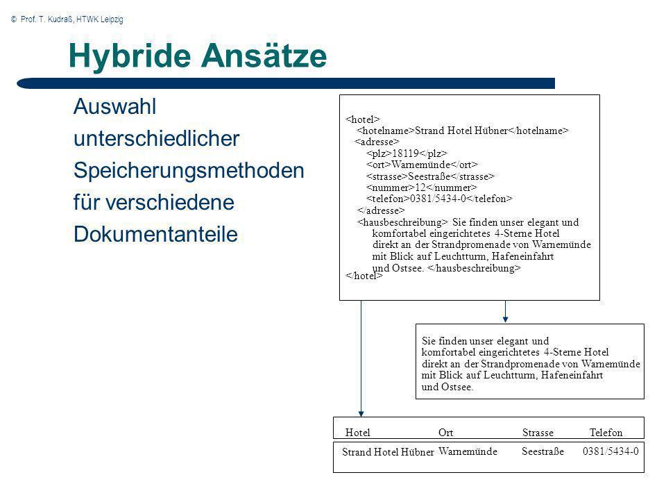 © Prof. T. Kudraß, HTWK Leipzig Hybride Ansätze Auswahl unterschiedlicher Speicherungsmethoden für verschiedene Dokumentanteile Hotel 0381/5434-0 Ort