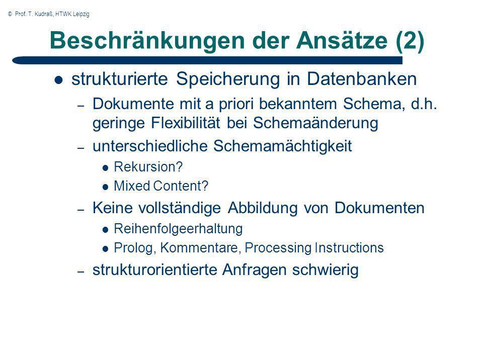 © Prof. T. Kudraß, HTWK Leipzig Beschränkungen der Ansätze (2) strukturierte Speicherung in Datenbanken – Dokumente mit a priori bekanntem Schema, d.h