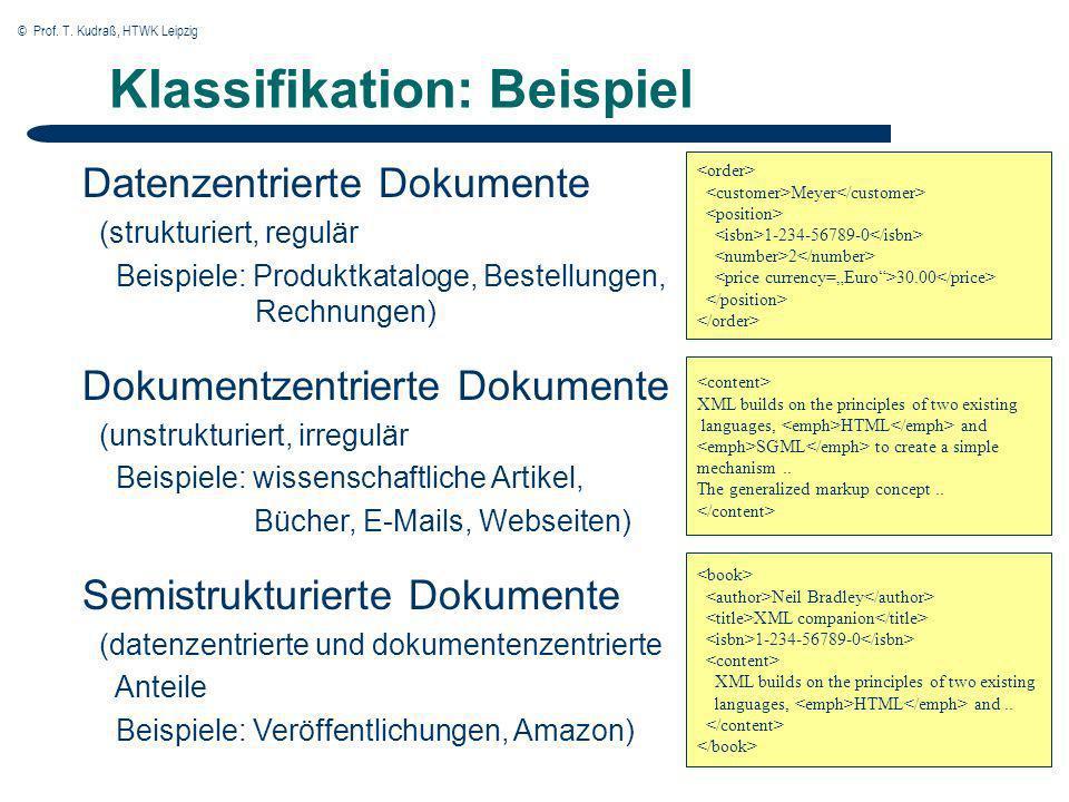 © Prof. T. Kudraß, HTWK Leipzig Klassifikation: Beispiel Datenzentrierte Dokumente (strukturiert, regulär Beispiele: Produktkataloge, Bestellungen, Re