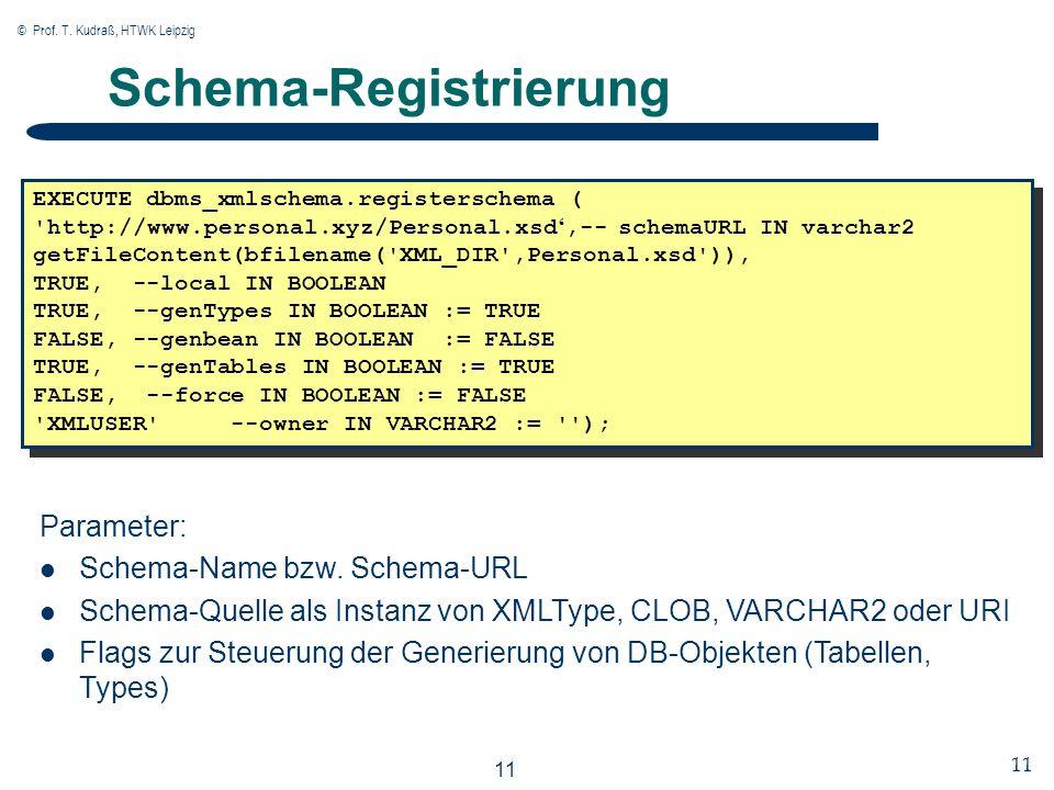 © Prof. T. Kudraß, HTWK Leipzig 11 Schema-Registrierung EXECUTE dbms_xmlschema.registerschema ( 'http://www.personal.xyz/Personal.xsd,-- schemaURL IN
