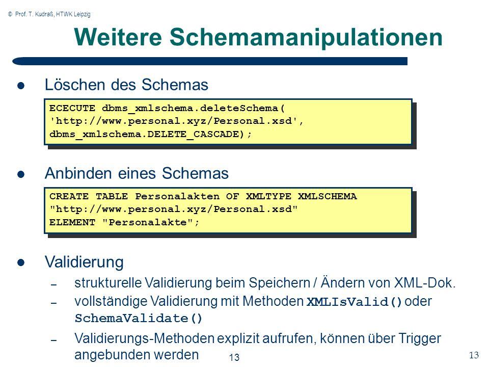 © Prof. T. Kudraß, HTWK Leipzig 13 Weitere Schemamanipulationen Löschen des Schemas ECECUTE dbms_xmlschema.deleteSchema( 'http://www.personal.xyz/Pers