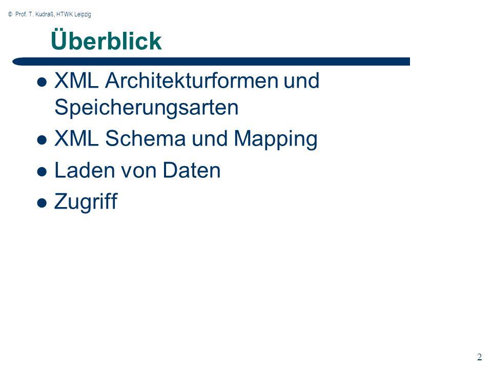 © Prof. T. Kudraß, HTWK Leipzig 2 2 Überblick XML Architekturformen und Speicherungsarten XML Schema und Mapping Laden von Daten Zugriff