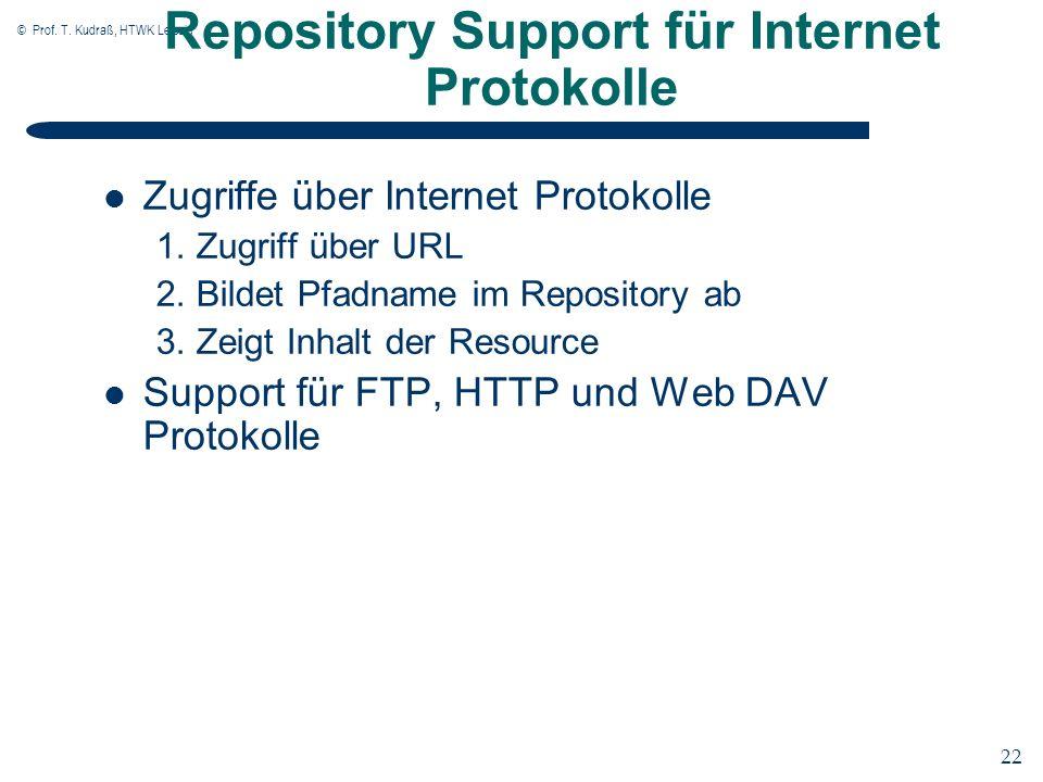 © Prof. T. Kudraß, HTWK Leipzig 22 Repository Support für Internet Protokolle Zugriffe über Internet Protokolle 1. Zugriff über URL 2. Bildet Pfadname