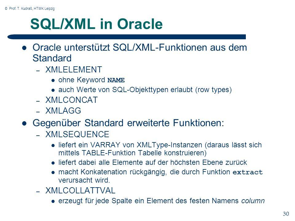 © Prof. T. Kudraß, HTWK Leipzig 30 SQL/XML in Oracle Oracle unterstützt SQL/XML-Funktionen aus dem Standard – XMLELEMENT ohne Keyword NAME auch Werte