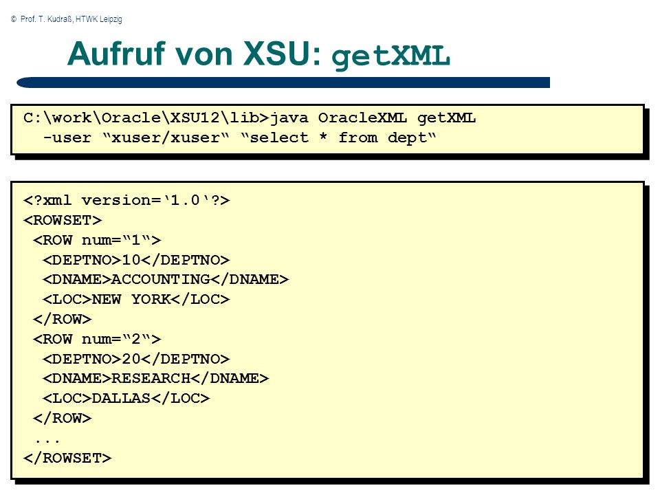 © Prof. T. Kudraß, HTWK Leipzig 35 Aufruf von XSU: getXML C:\work\Oracle\XSU12\lib>java OracleXML getXML -user xuser/xuser select * from dept 10 ACCOU