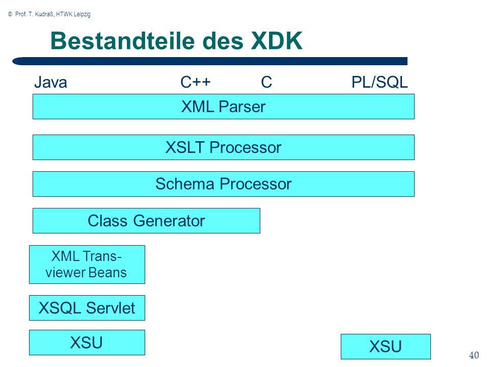 © Prof. T. Kudraß, HTWK Leipzig 40 Bestandteile des XDK XML Parser Schema Processor Class Generator XML Trans- viewer Beans XSQL Servlet XSU XSLT Proc