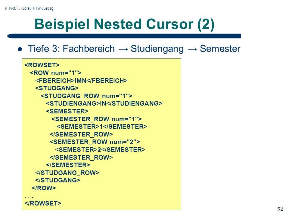© Prof. T. Kudraß, HTWK Leipzig 52 Beispiel Nested Cursor (2) Tiefe 3: Fachbereich Studiengang Semester IMN IN 1 2...