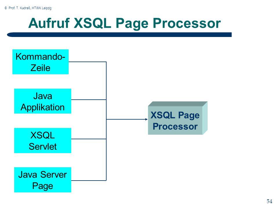 © Prof. T. Kudraß, HTWK Leipzig 54 Aufruf XSQL Page Processor Kommando- Zeile Java Applikation XSQL Servlet Java Server Page XSQL Page Processor
