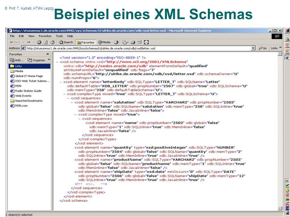 © Prof. T. Kudraß, HTWK Leipzig 7 7 Beispiel eines XML Schemas