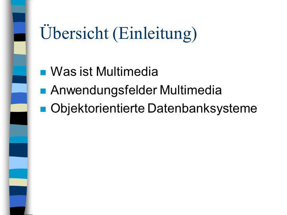 Übersicht (Einleitung) n Was ist Multimedia n Anwendungsfelder Multimedia n Objektorientierte Datenbanksysteme