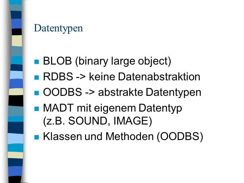 Datentypen n BLOB (binary large object) n RDBS -> keine Datenabstraktion n OODBS -> abstrakte Datentypen n MADT mit eigenem Datentyp (z.B.