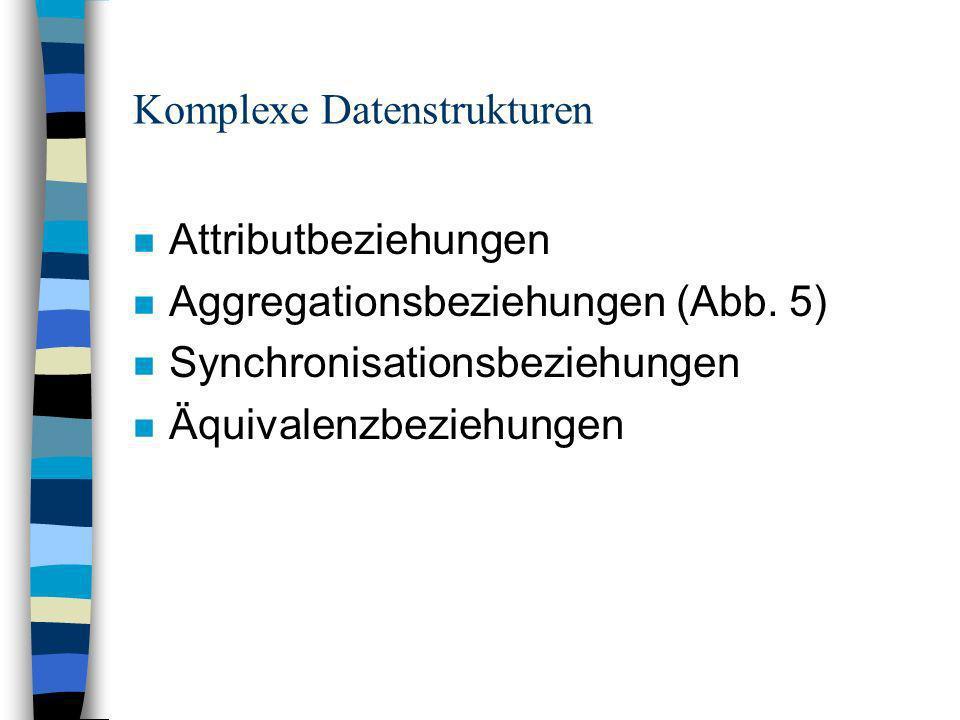 Komplexe Datenstrukturen n Attributbeziehungen n Aggregationsbeziehungen (Abb.