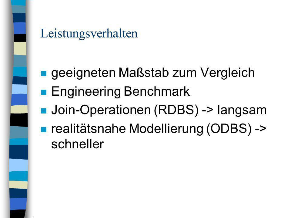 Leistungsverhalten n geeigneten Maßstab zum Vergleich n Engineering Benchmark n Join-Operationen (RDBS) -> langsam n realitätsnahe Modellierung (ODBS) -> schneller