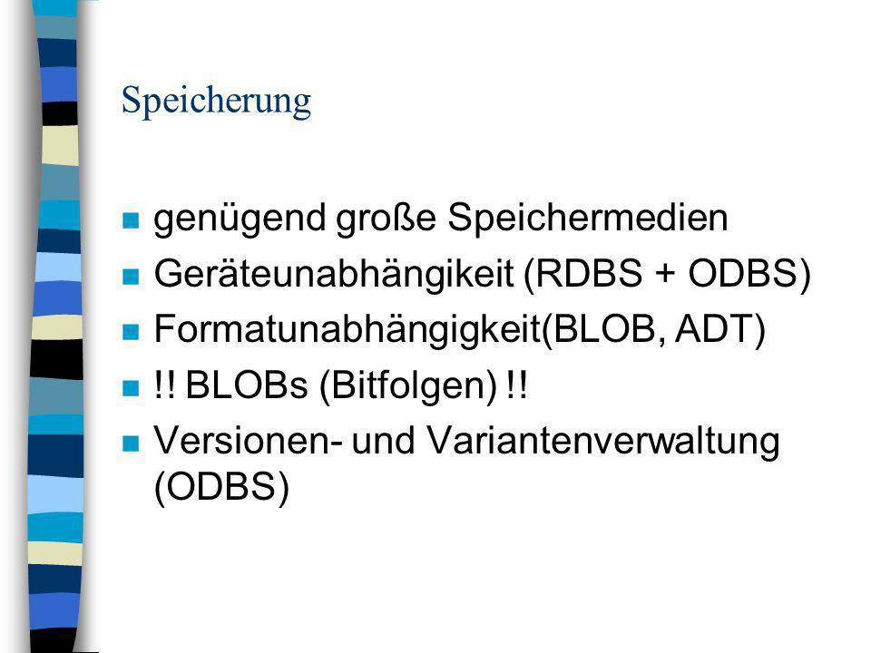 Speicherung n genügend große Speichermedien n Geräteunabhängikeit (RDBS + ODBS) n Formatunabhängigkeit(BLOB, ADT) n !.