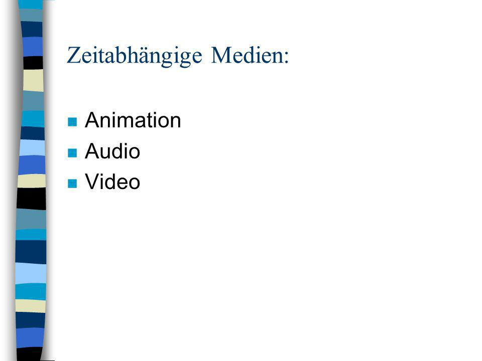 Zeitabhängige Medien: n Animation n Audio n Video