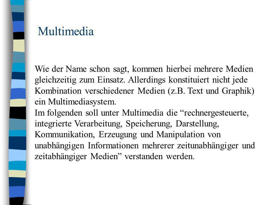 Multimedia Wie der Name schon sagt, kommen hierbei mehrere Medien gleichzeitig zum Einsatz.