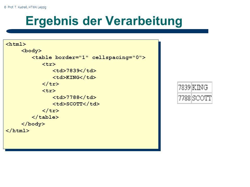 © Prof. T. Kudraß, HTWK Leipzig Ergebnis der Verarbeitung 7839 KING 7788 SCOTT 7839 KING 7788 SCOTT