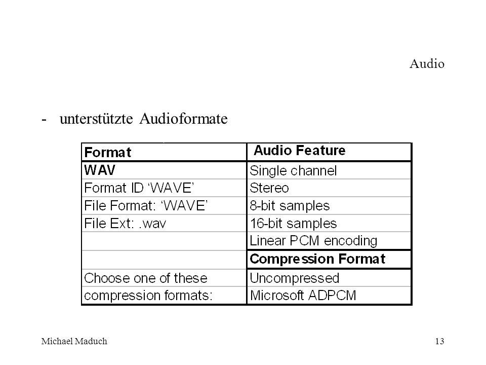 Michael Maduch13 Audio -unterstützte Audioformate