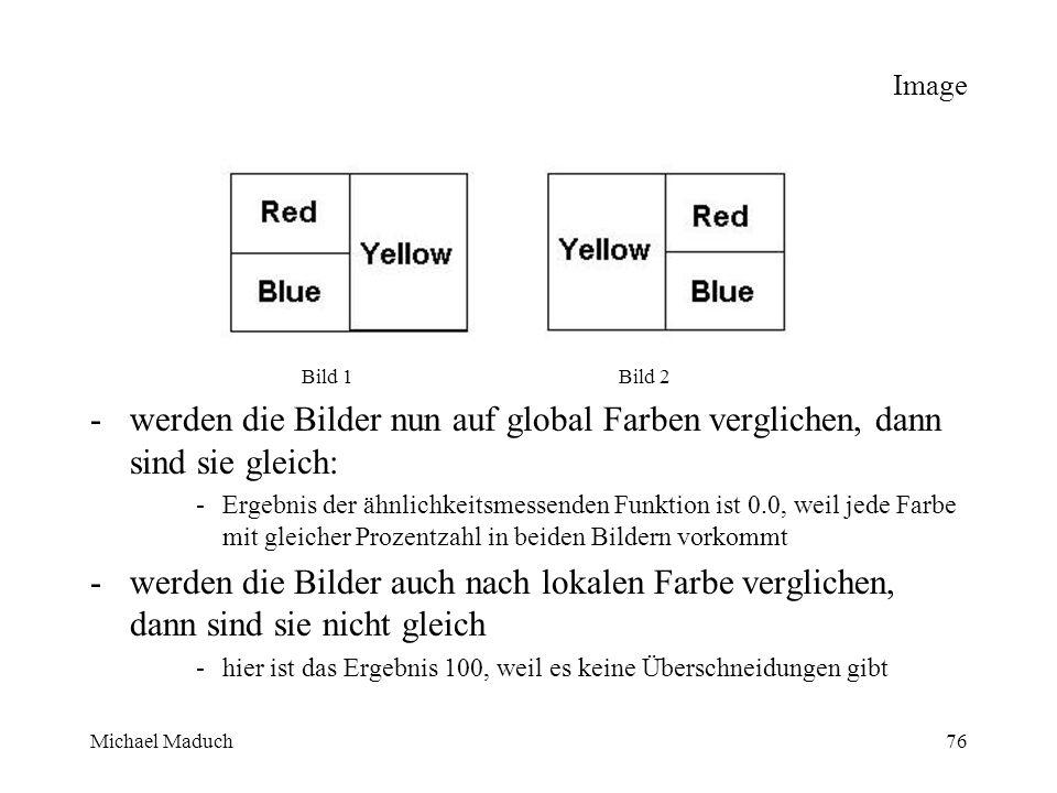Michael Maduch76 Image Bild 1Bild 2 -werden die Bilder nun auf global Farben verglichen, dann sind sie gleich: -Ergebnis der ähnlichkeitsmessenden Funktion ist 0.0, weil jede Farbe mit gleicher Prozentzahl in beiden Bildern vorkommt -werden die Bilder auch nach lokalen Farbe verglichen, dann sind sie nicht gleich -hier ist das Ergebnis 100, weil es keine Überschneidungen gibt